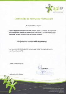 Certificado de Técnico Qualidade do Ar Interior