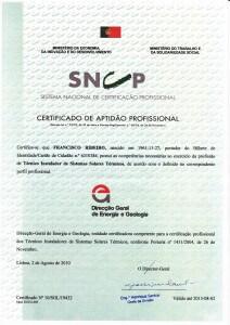 Certificado de Aptidão Profissional como Técnico Instalador de Sistemas Solares Térmicos