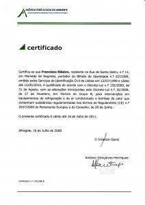 Certificado de Técnico de Grupo B (Regulamento CE nº 1005/2009)
